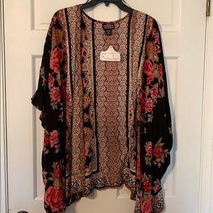 NWT Black Floral Kimono Size 2X